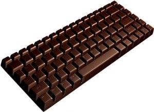 Nosso único, autêntico e original (coisa nenhuma) Teclado de Chocolate, que aparece onde há chocolate!