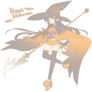 witch anime girl halloween happy