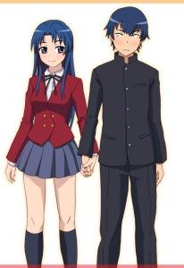 Ryuuji e Ami, de Toradora. Ryuuji desistiu da tsundere kawaii Taiga e acabou com a modelo Ami Kawashima. Daria um ótimo final alternativo, com a Taiga se apaixonando por mim.