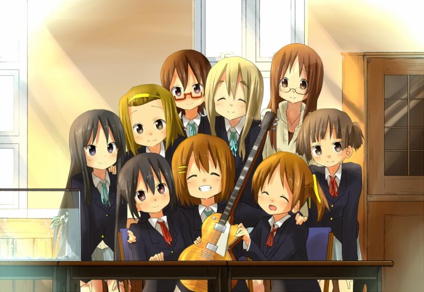K-On: Akiyama Mio, Tainaka Ritsu, Manabe Nodoka, Kotobuki Tsumugi, Yamanako Sawaka, Nakano Azusa, Hirasawa Yui, Hirasawa Ui e Suzuki Jun.