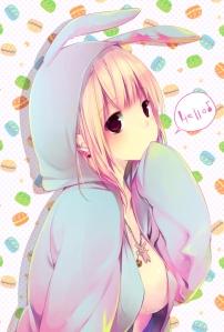Para voltar à tradição... Uma garota de anime com uma roupinha de coelho.