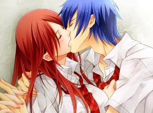 anime couple kiss french kiss